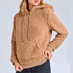 Sweaters - NEW! Camel Teddy Hoodie, Sherpa Cozy Knit Sweater